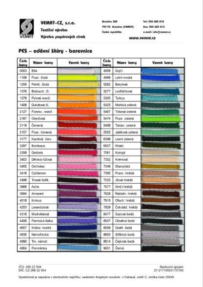barevnice polyesterových šňůr (PES)